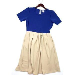 LuLaRoe Amelia Dress Size Large Blue Pockets zip